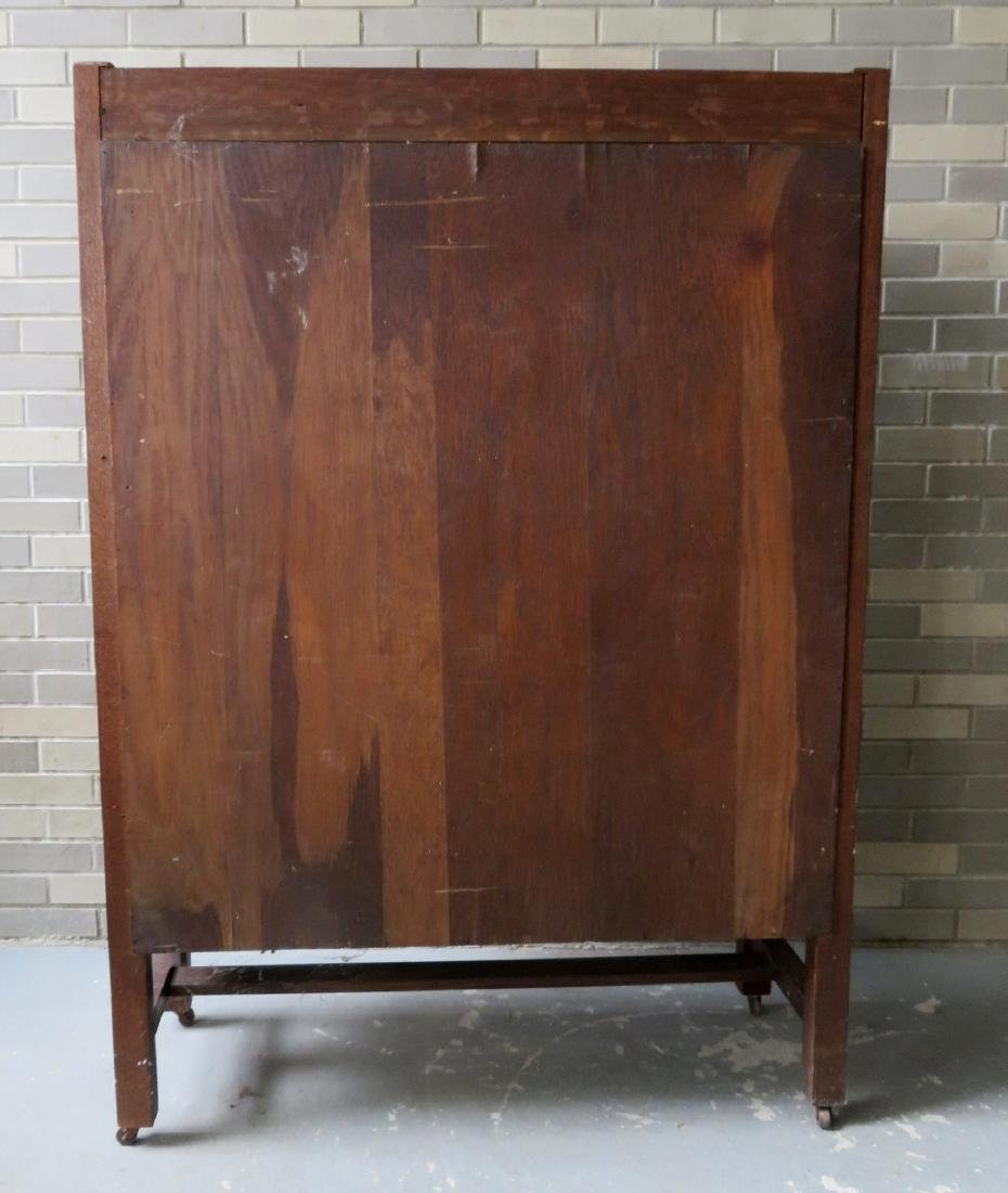Mission oak 2 door china cabinet - appears to retain - 4