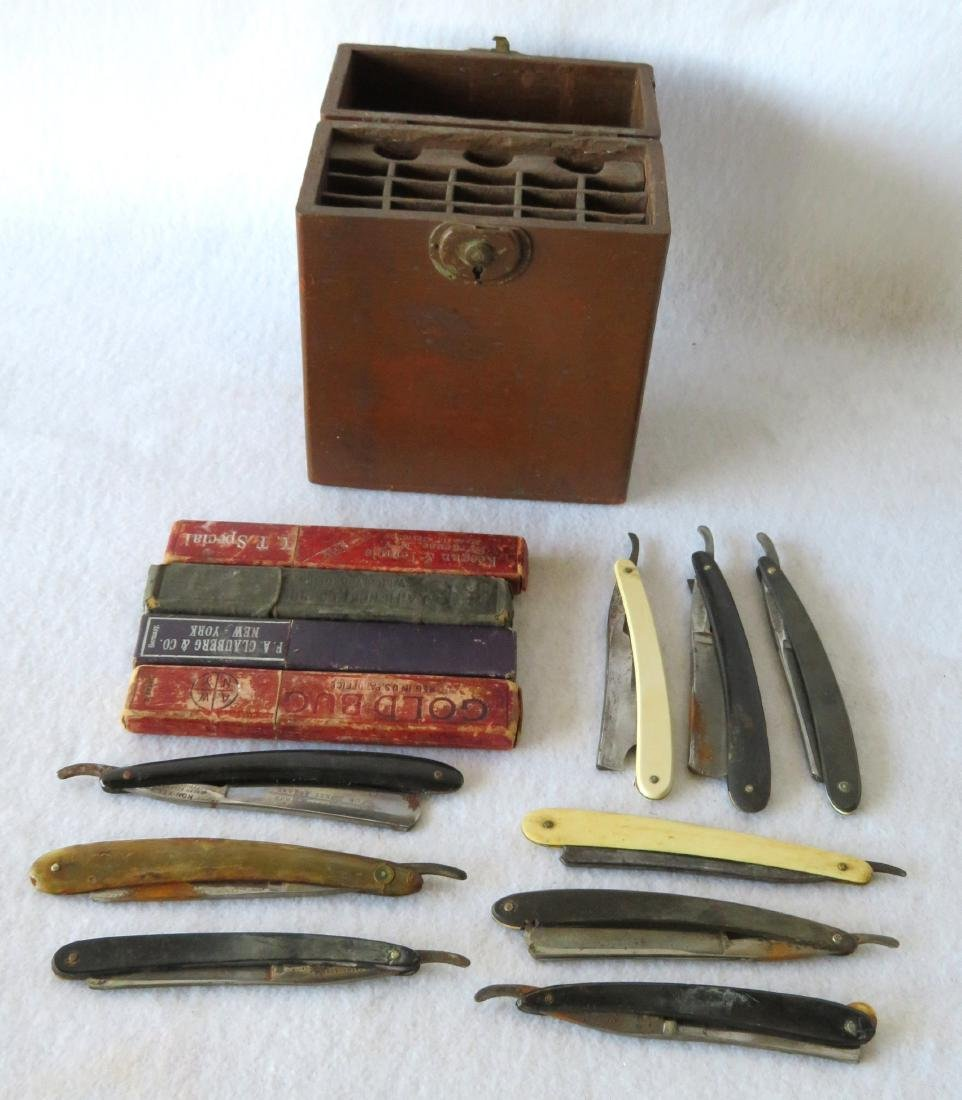 Collection of 13 straight edge razors in razor box.
