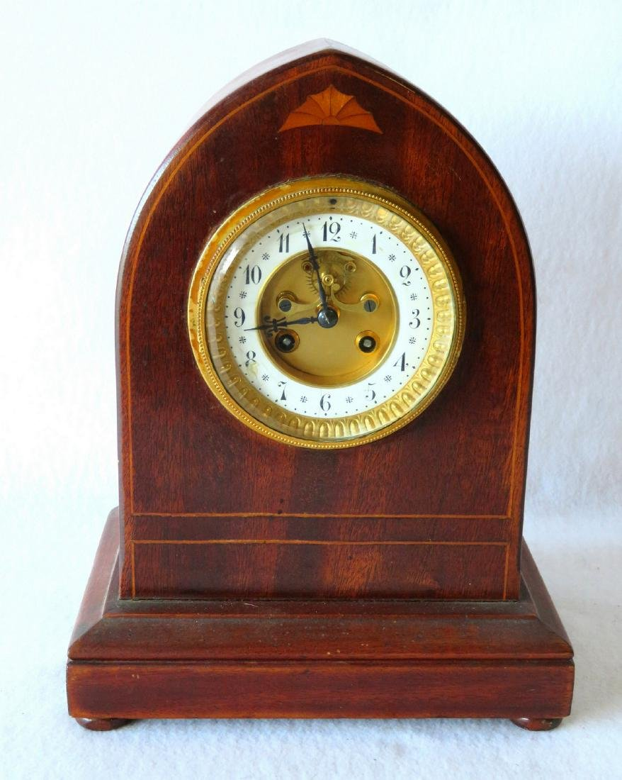 Beehive French mahogany mantle clock with open