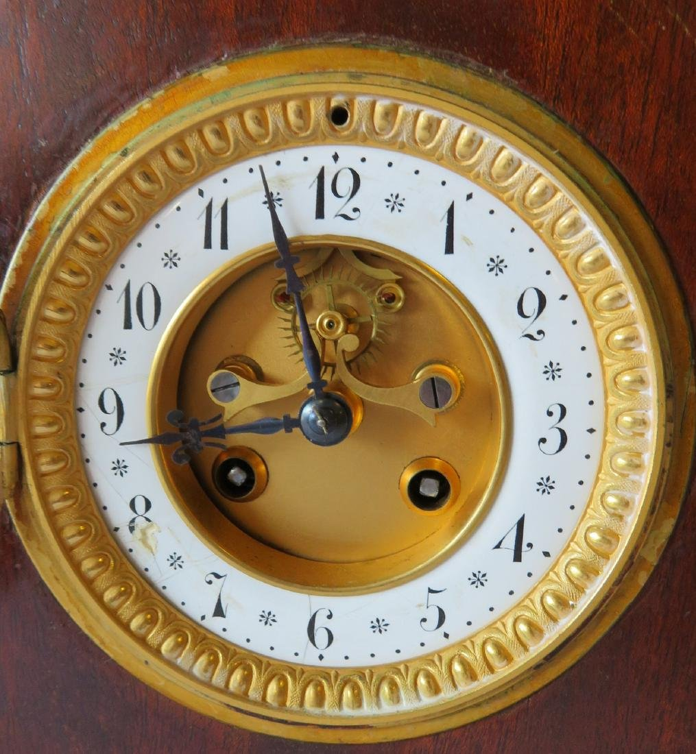 Beehive French mahogany mantle clock with open - 3