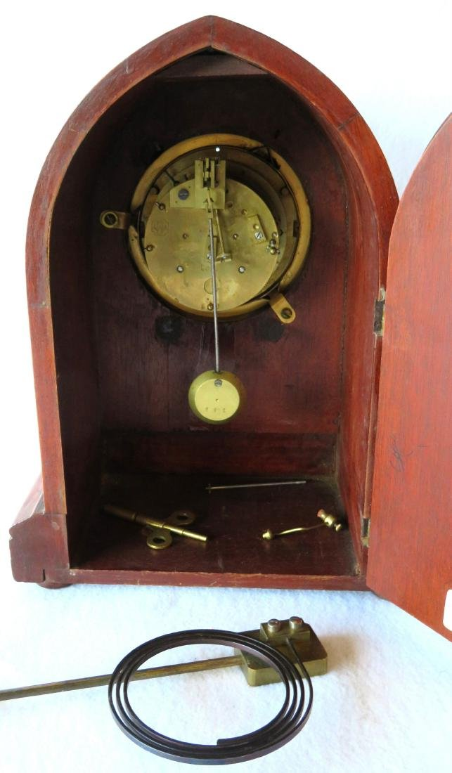 Beehive French mahogany mantle clock with open - 5