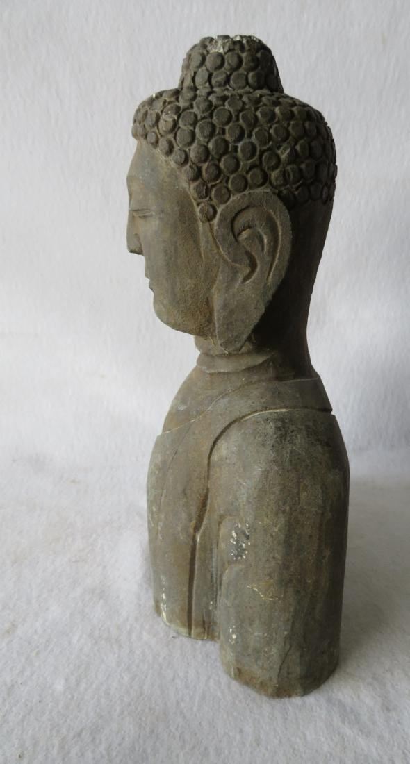 Stone sculpture of a Buddhist man - early to mid 20th - 2