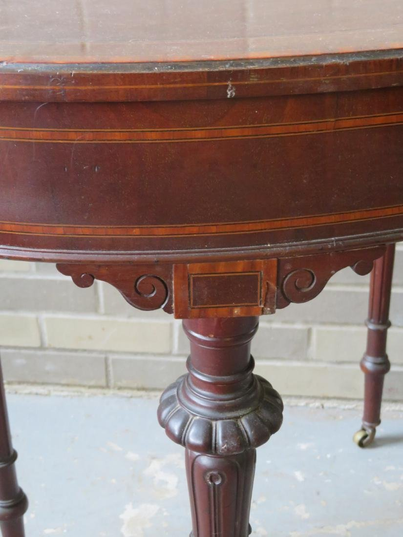 French kidney shaped rosewood and mahogany lady's desk. - 5