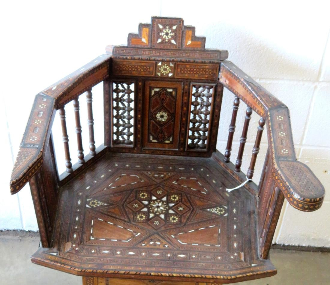 Middle-Eastern Syrian side chair with barrel shaped - 2
