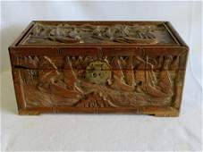 Chinese hand carved box with brass lock decorated with