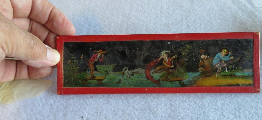 Tin Magic Lantern with slides, traces of original - 3