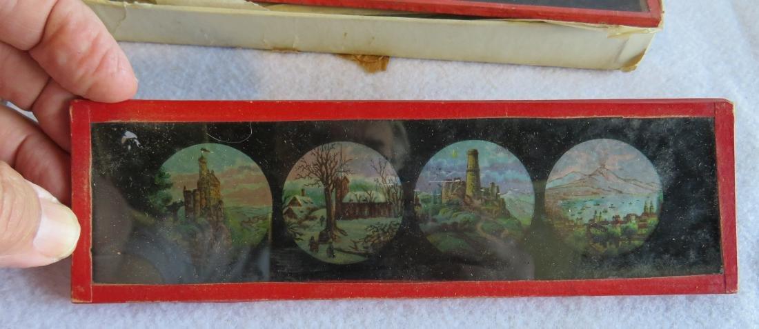 Tin Magic Lantern with slides, traces of original - 4