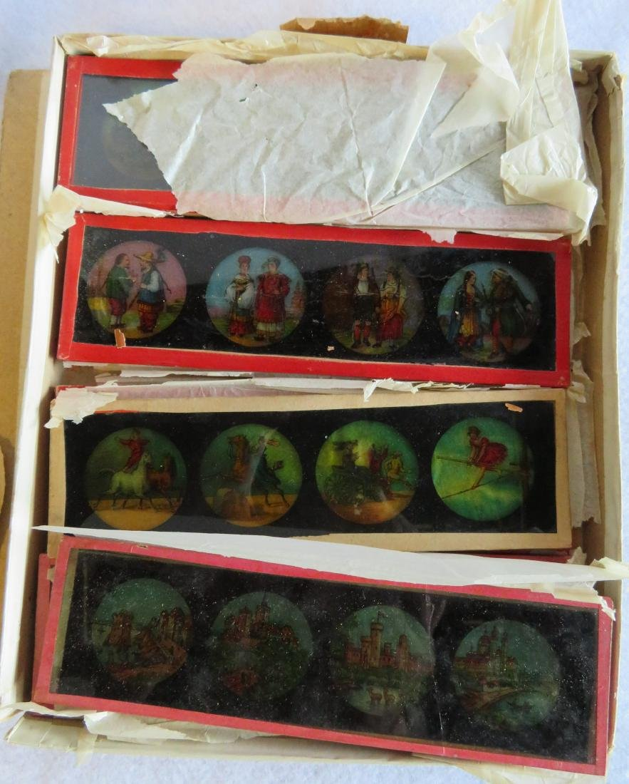Tin Magic Lantern with slides, traces of original - 5