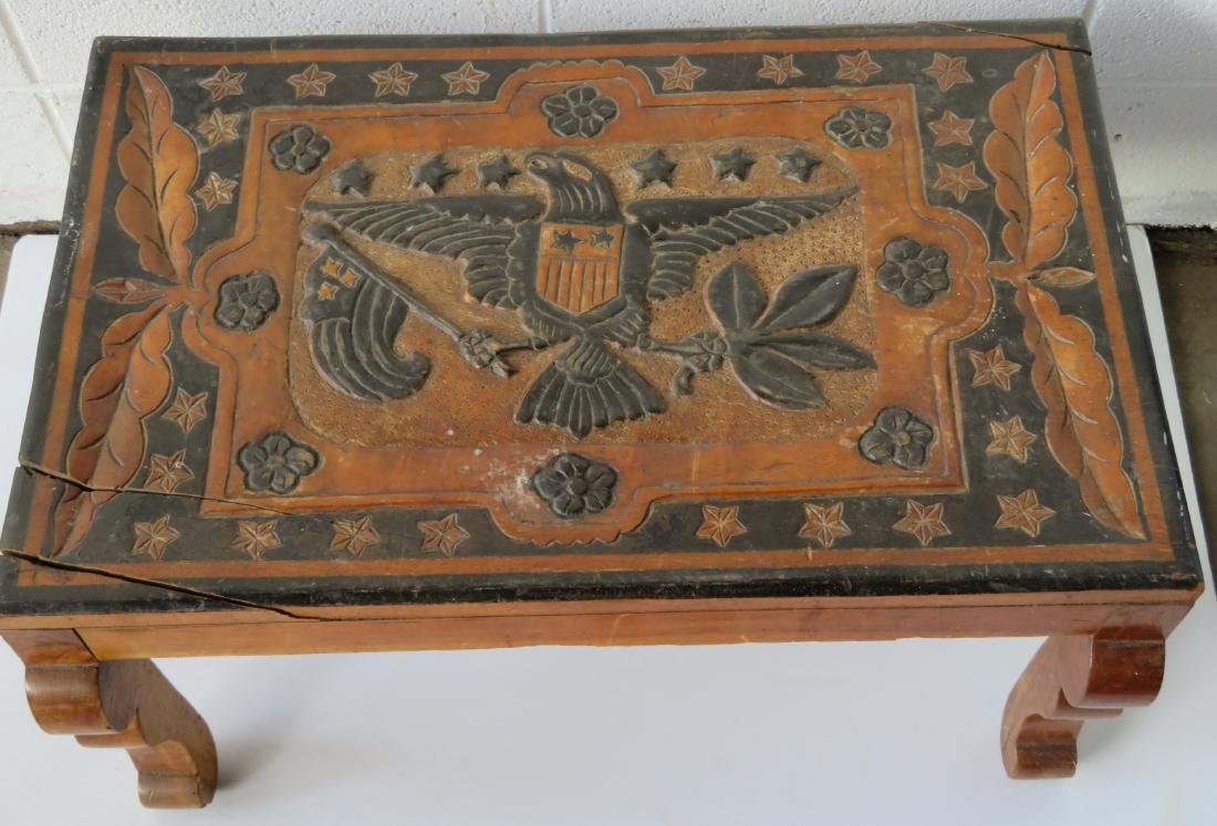 Late Chinese export coffee table having a carved center