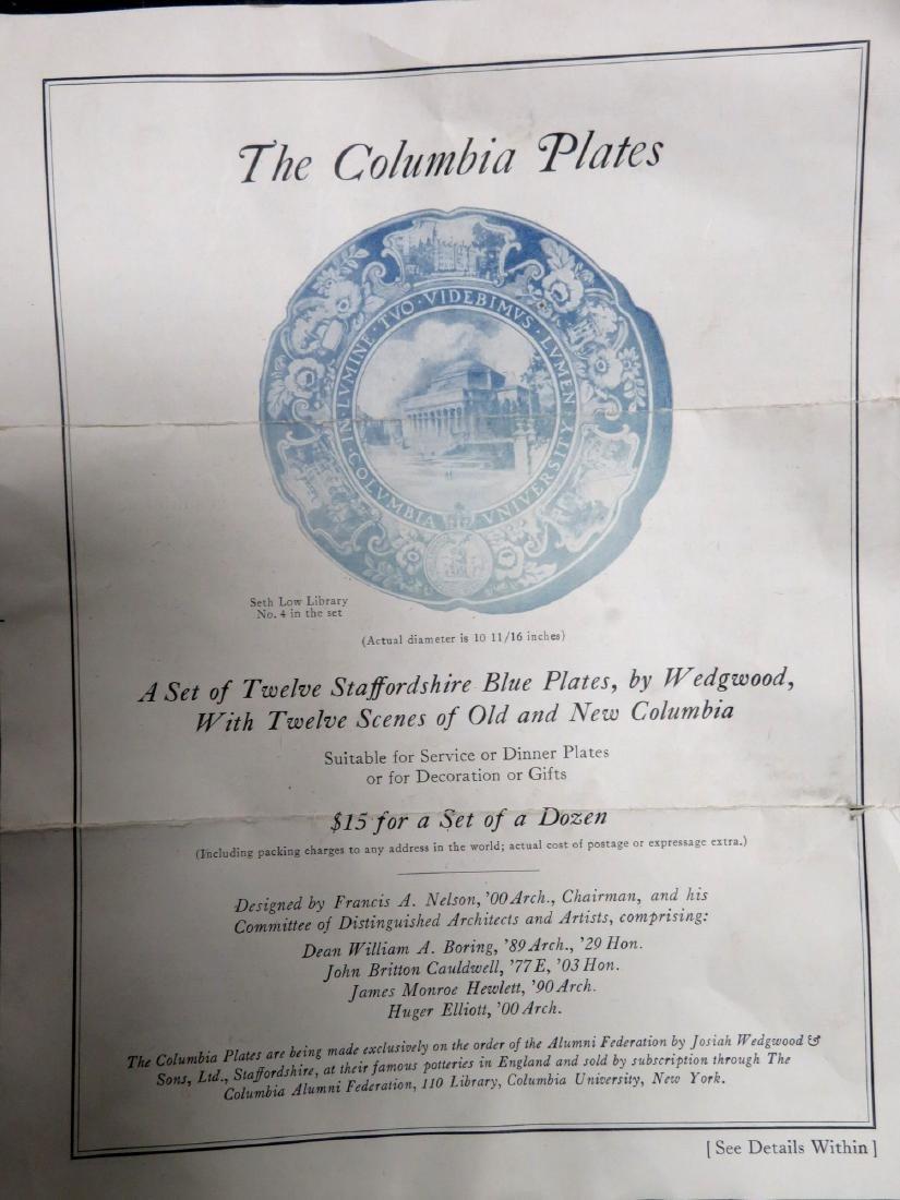Set of 12 Columbia University dinner plates 1931 1st ed - 6