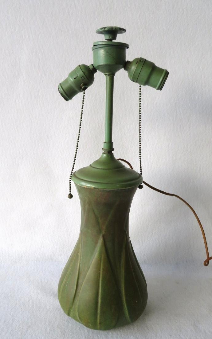 Art pottery table lamp, matte green glaze.