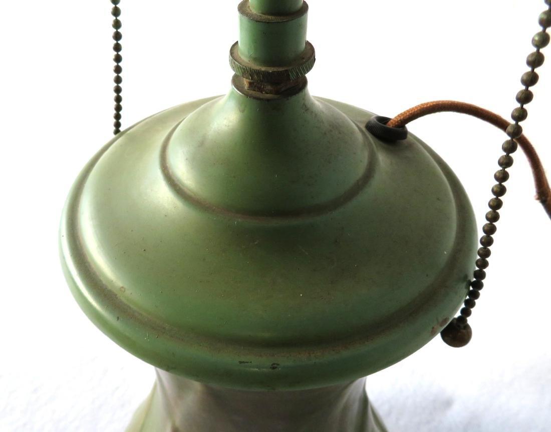 Art pottery table lamp, matte green glaze. - 3