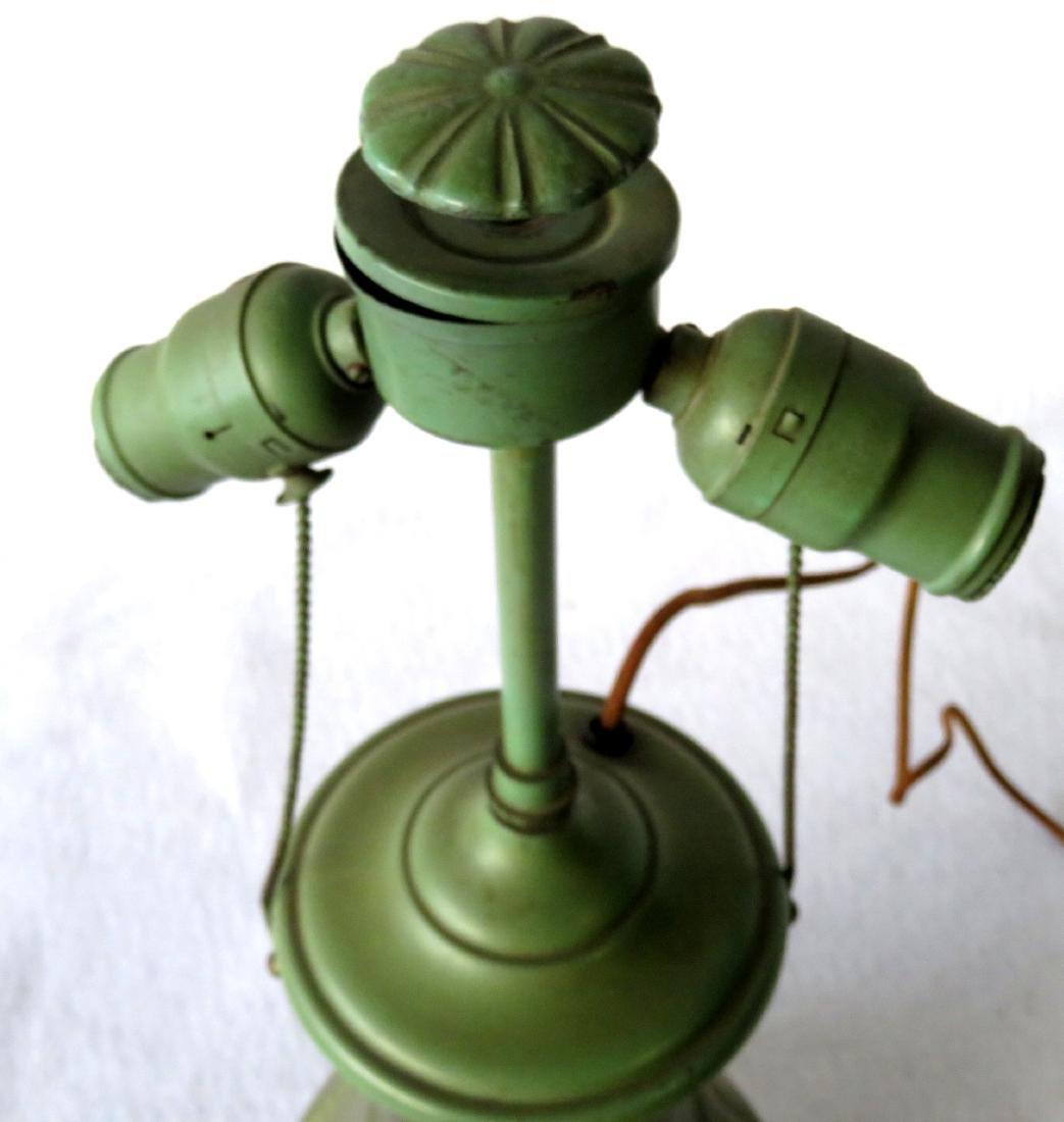 Art pottery table lamp, matte green glaze. - 6