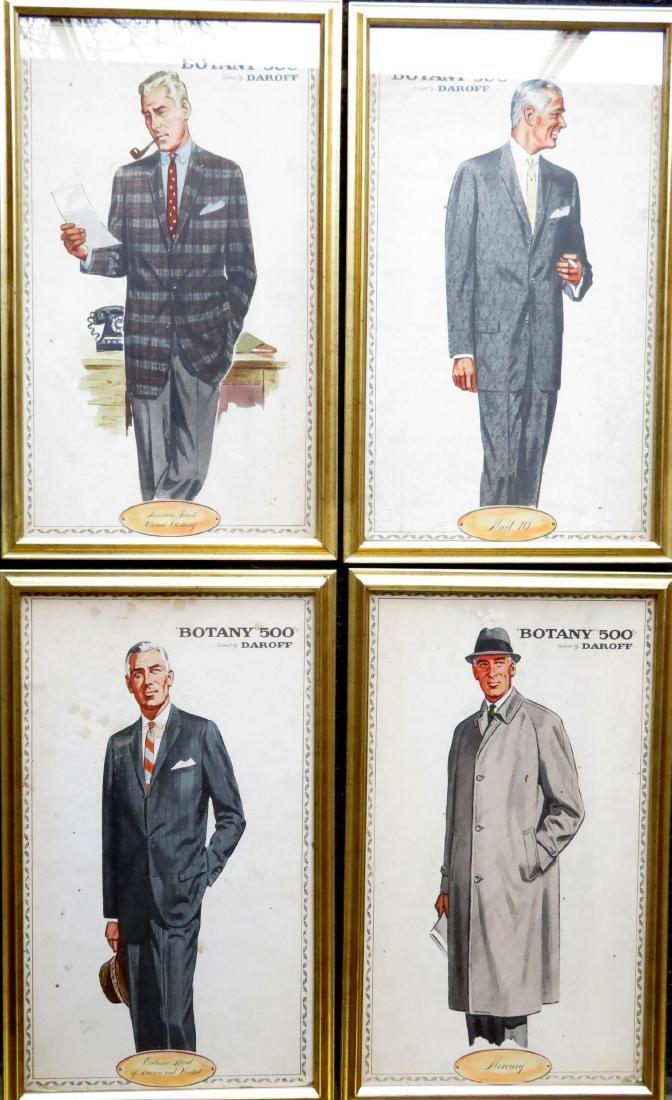 "Four framed Botany ""500"" men's clothing ads"