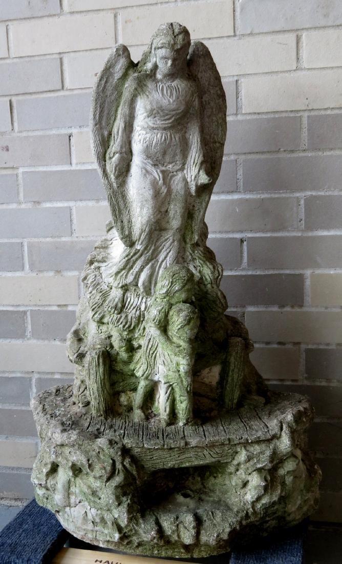 Old concrete garden sculpture of a Guardian Angel, - 2