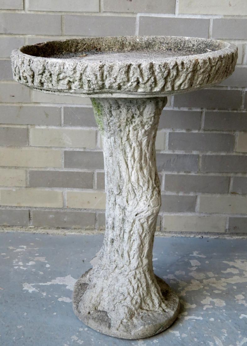 Rustic form concrete bird birth on pedestal base, mid