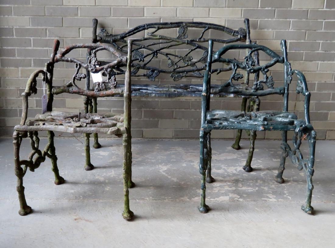 Three piece matching cast iron garden set in rustic