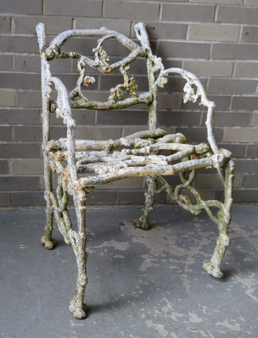 Two matching cast iron garden chairs in rustic twig - 2