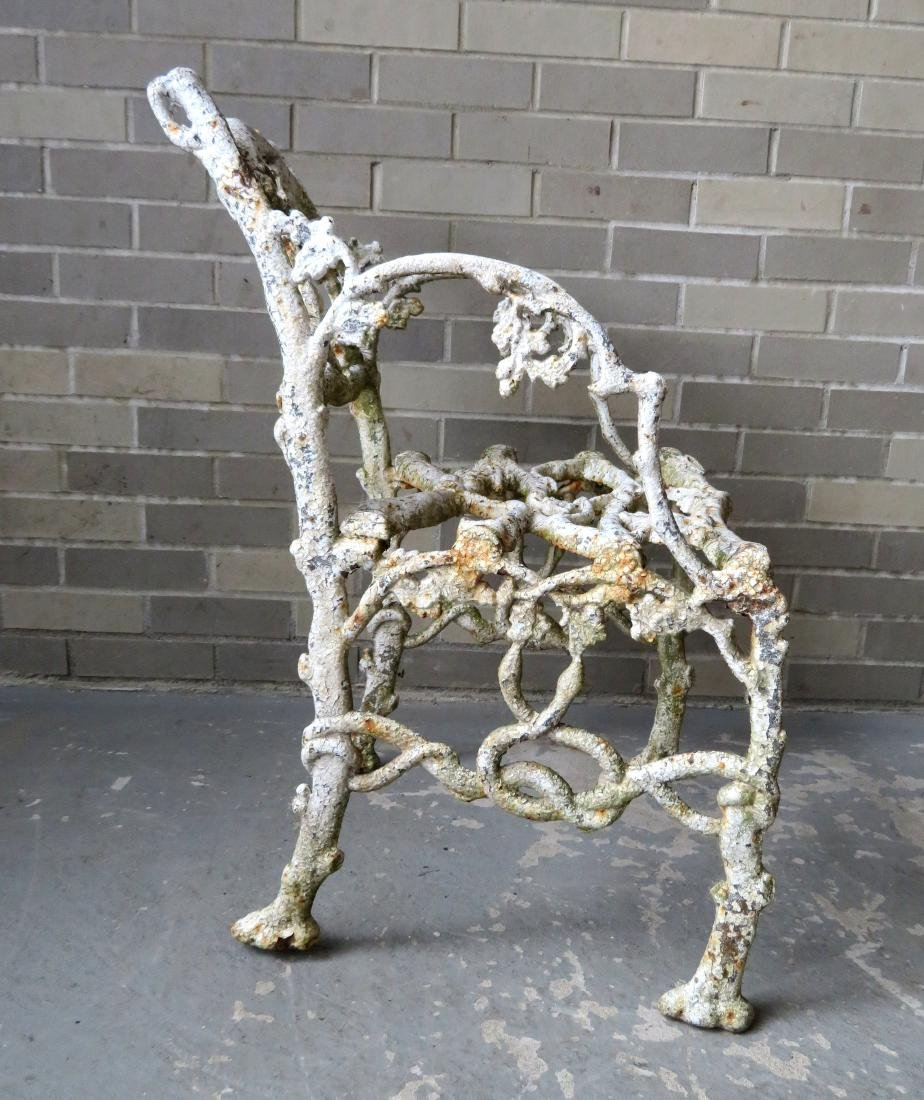 Two matching cast iron garden chairs in rustic twig - 4