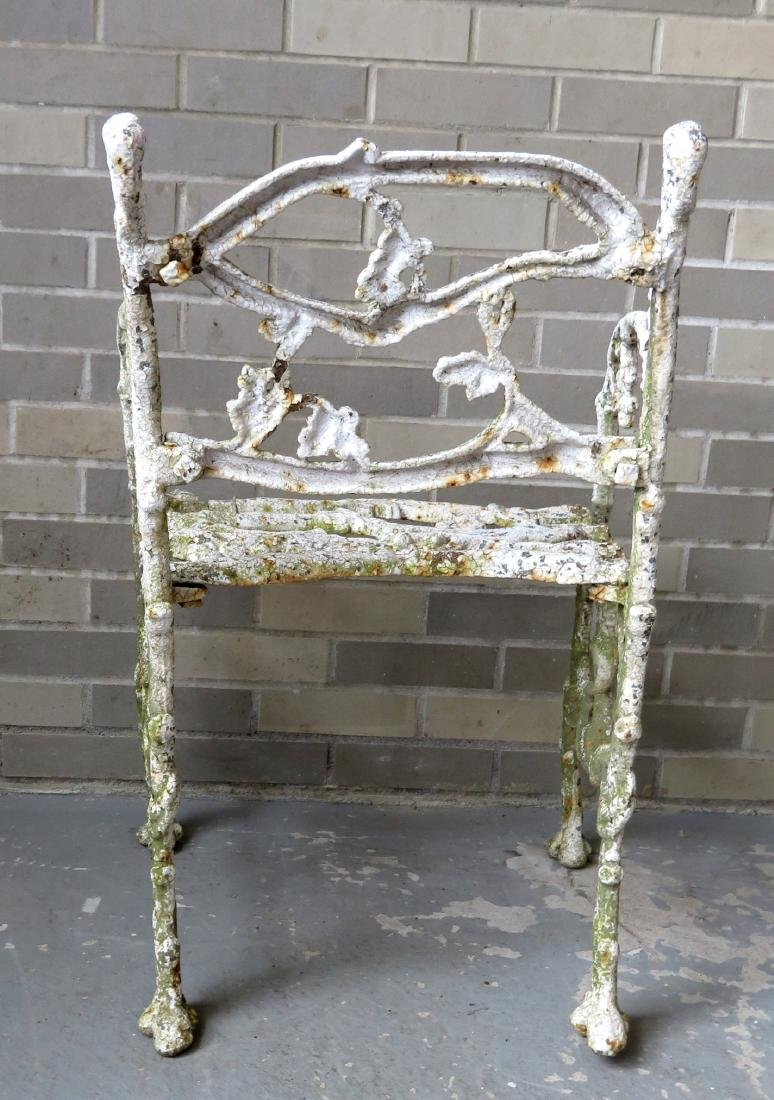 Two matching cast iron garden chairs in rustic twig - 5