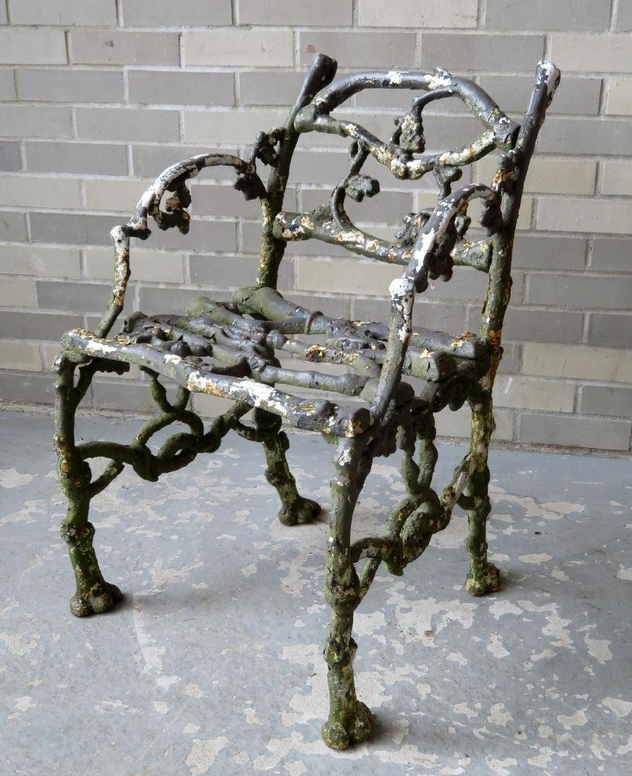 Two matching cast iron garden chairs in rustic twig - 8