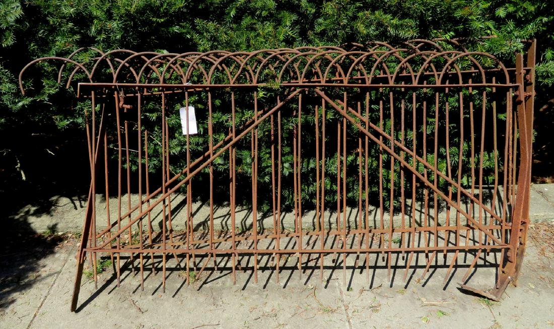 Pair of wrought iron garden gates with loop shaped