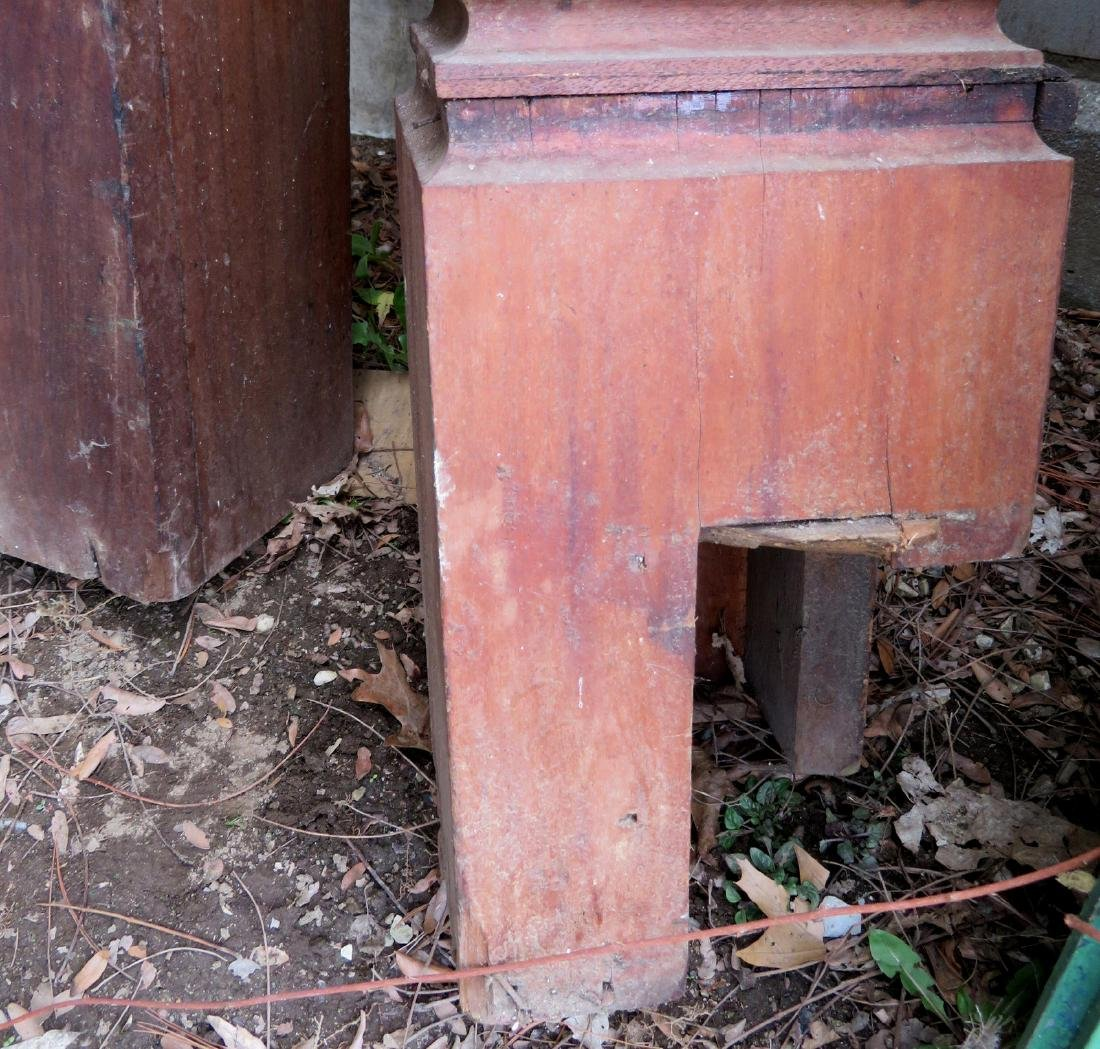 Two newel posts including: 1) Black walnut with carved - 7