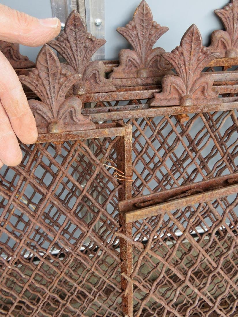 Grouping of 6 matching wire wind grates with iron - 3