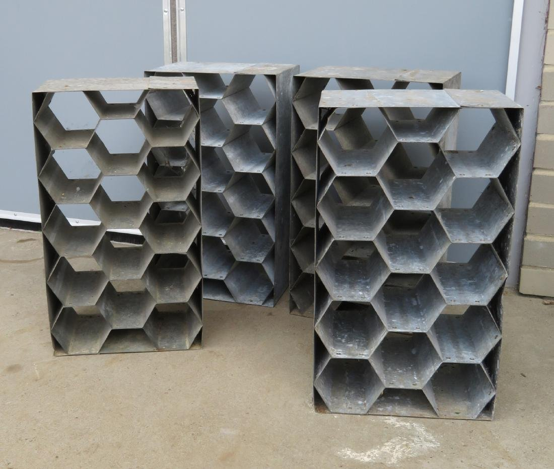 Grouping of 4 matching galvanized steel honey comb