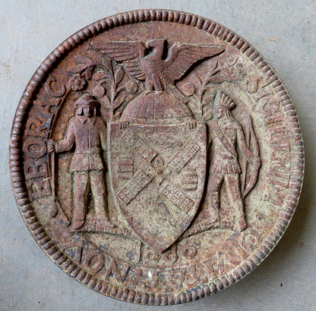Cast iron NY City seal, in the form of a circular