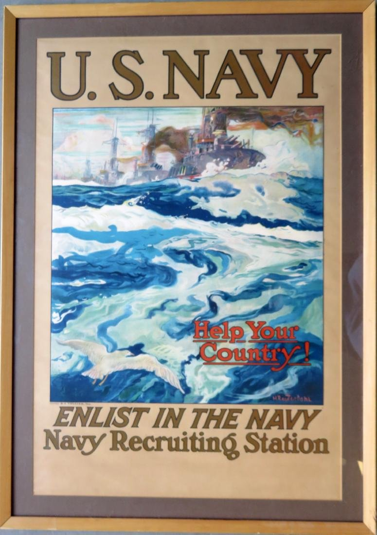 "Large folio WWI lithograph poster entitled ""U.S. NAVY /"