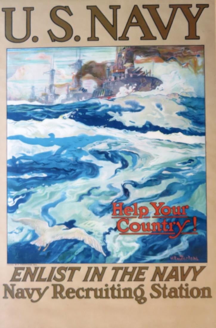 "Large folio WWI lithograph poster entitled ""U.S. NAVY / - 2"