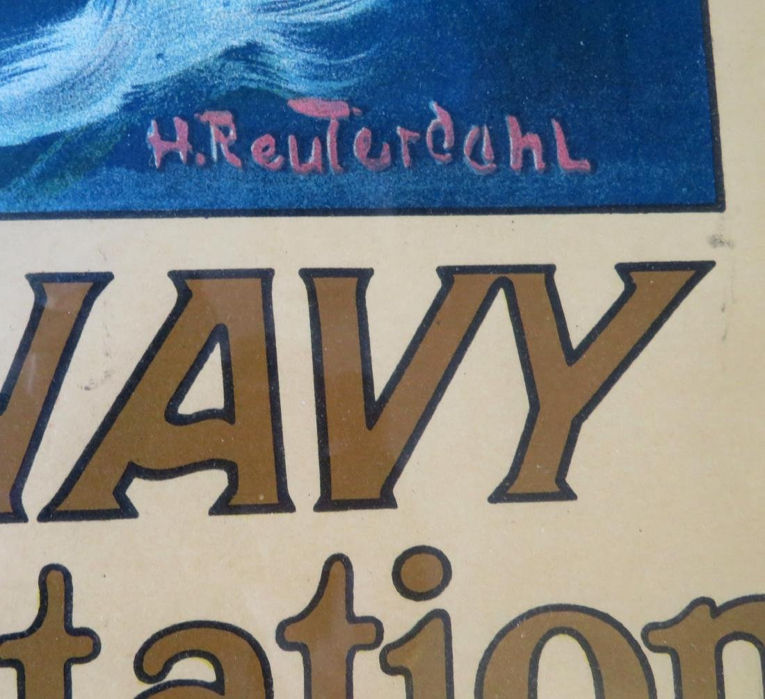 "Large folio WWI lithograph poster entitled ""U.S. NAVY / - 3"