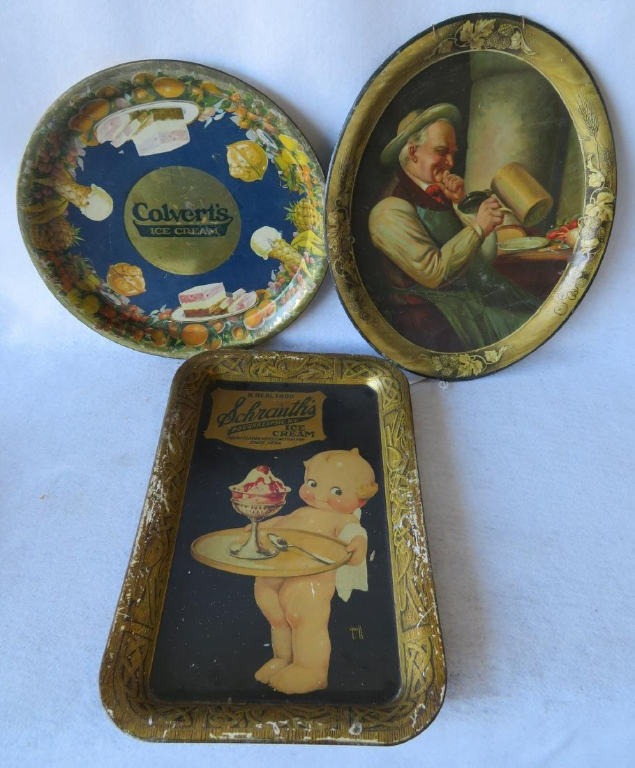 Grouping of 3 lithographed advertising trays including