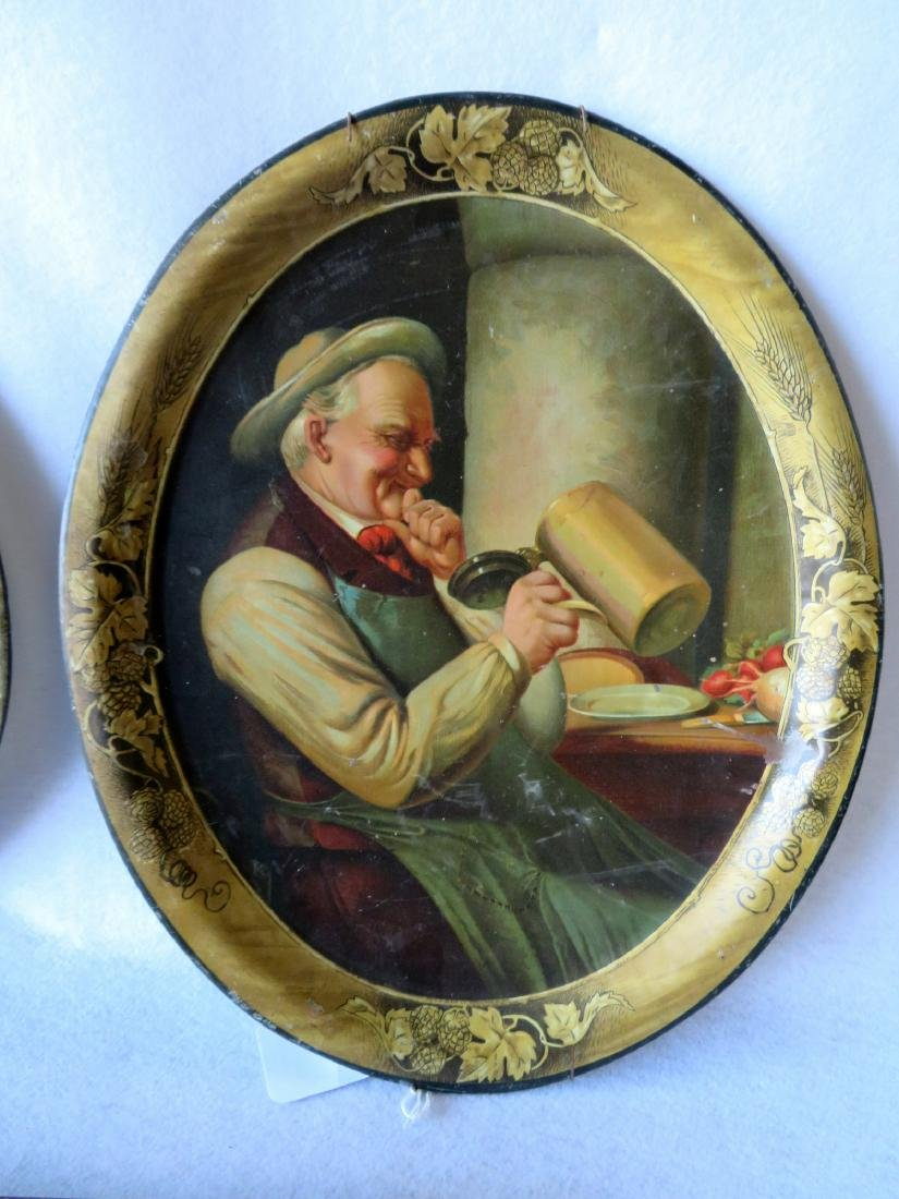 Grouping of 3 lithographed advertising trays including - 4