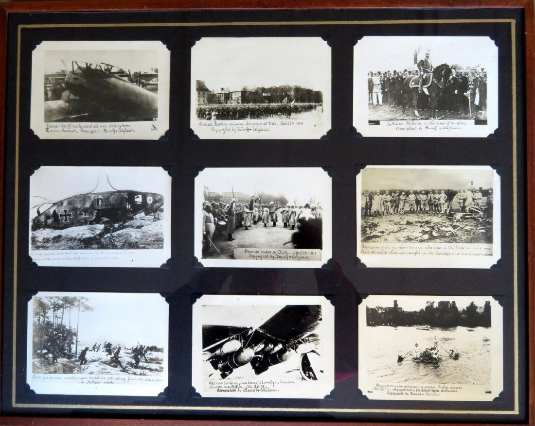 Framed grouping of 9 German WWI photos, some with dates