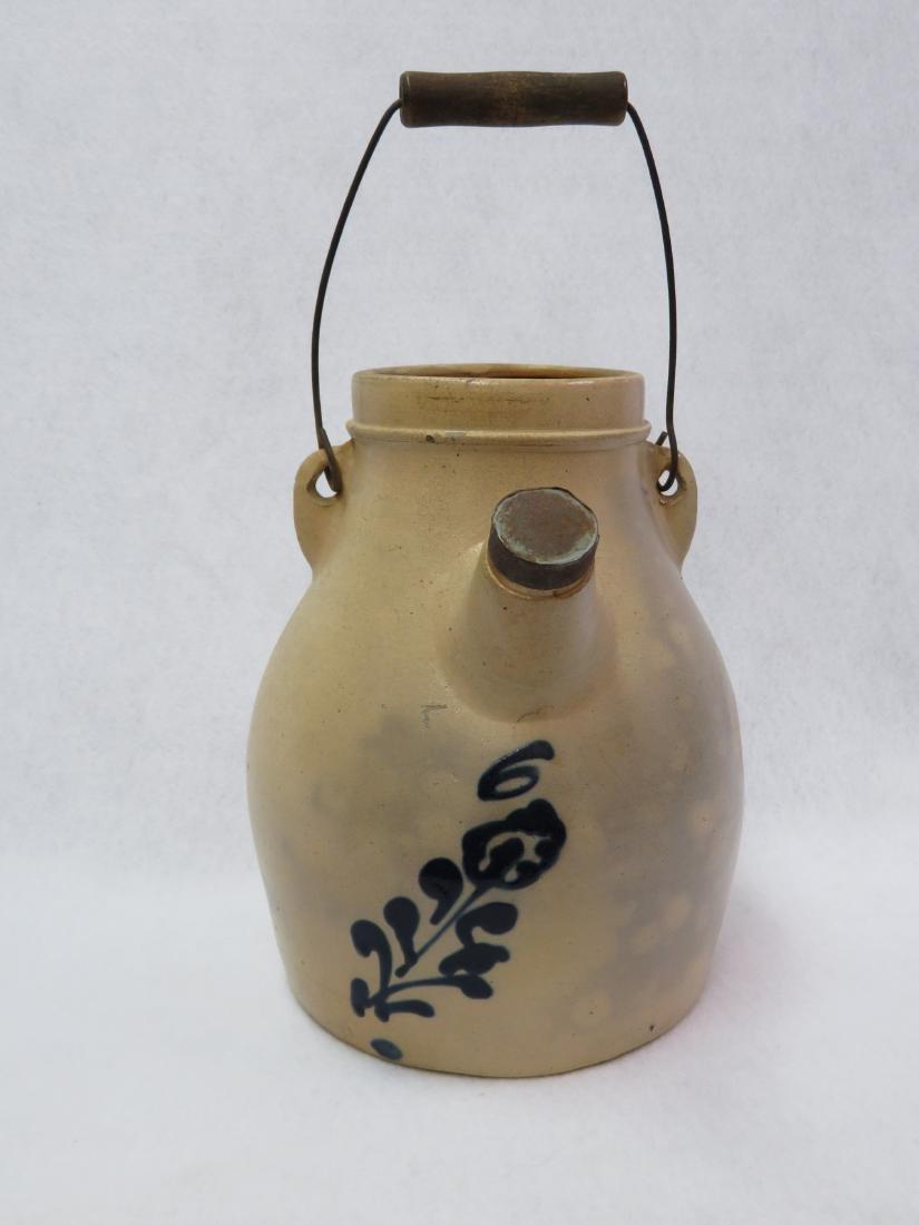 Stoneware batter jug with original bail handle and