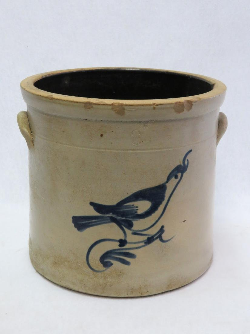 Stoneware 3 gallon crock decorated with a blue bird on