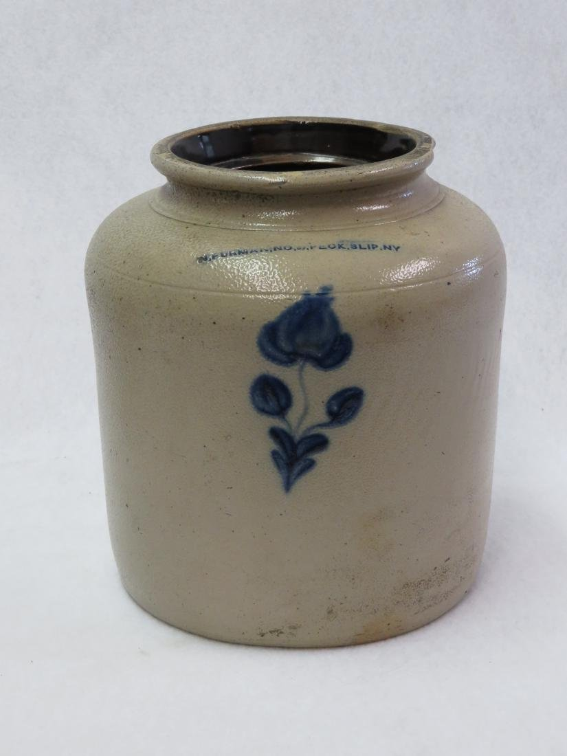 Stoneware jar, probably 1 gallon, decorated with blue