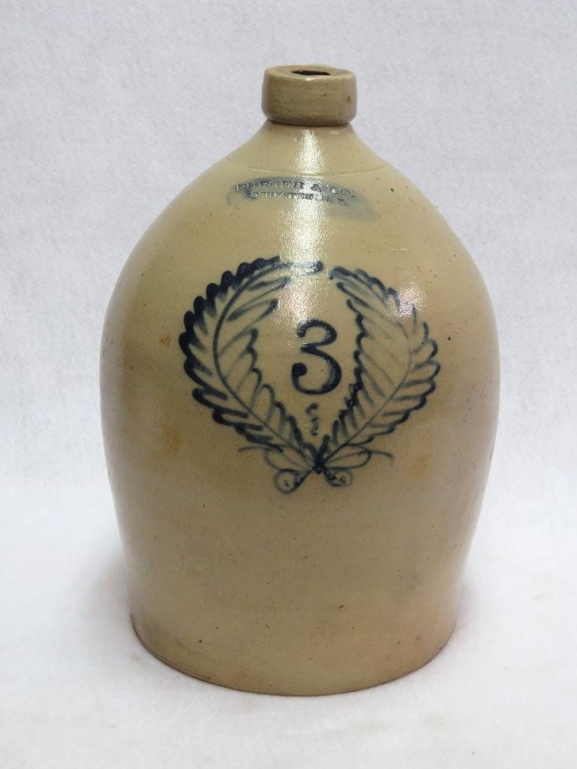 Stoneware 3 gallon jug decorated with a cobalt blue