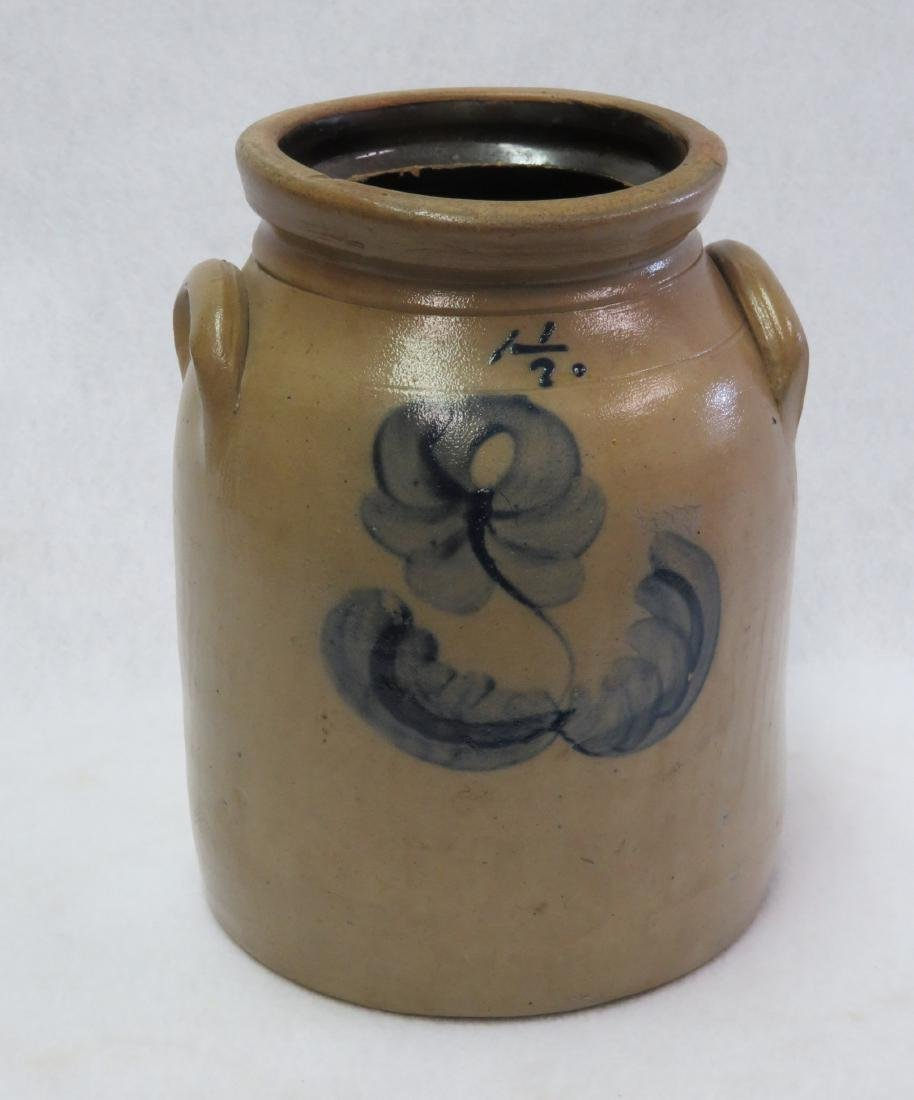 Stoneware 1 1/2 gallon crock decorated with a large