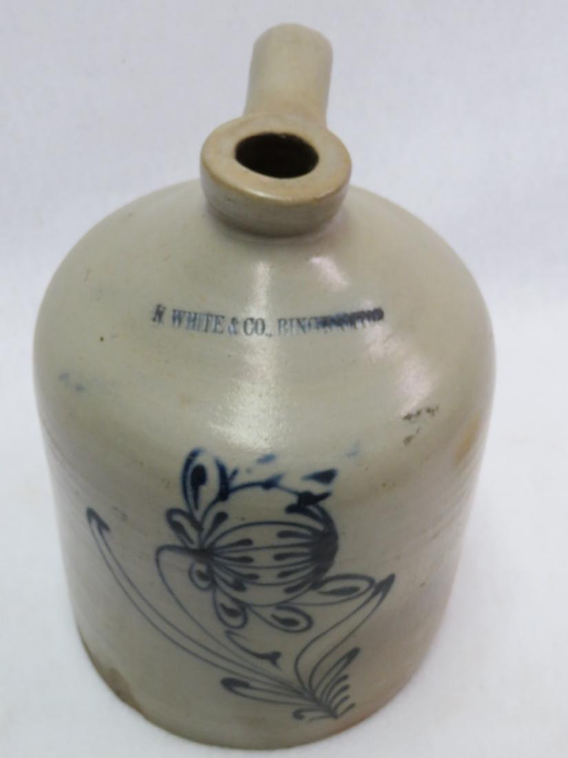 Stoneware 1 gallon jug decorated with al large deep - 4