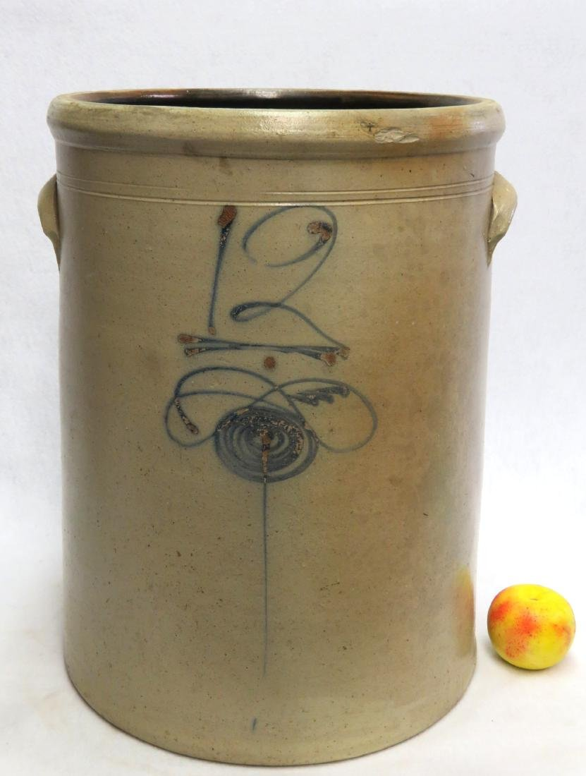 Large stoneware 12 gallon pickle crock decorated with