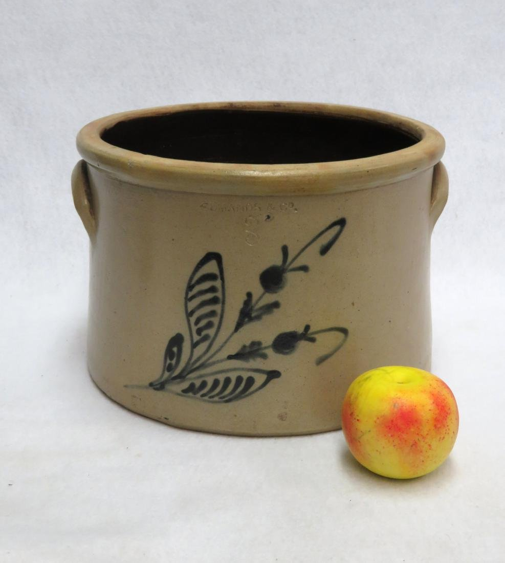 Stoneware 3 gallon butter crock decorated with a large