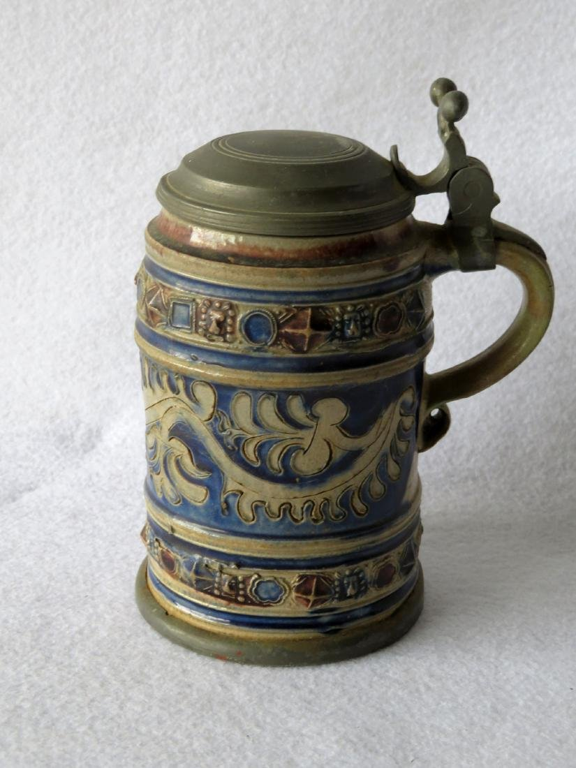 Westerwald stoneware stein having a pewter lid and