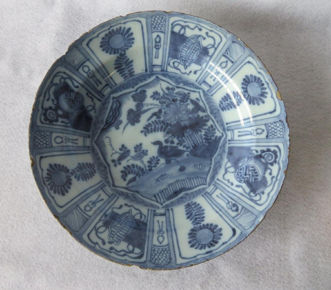 Tin glazed Delft charger decorated in blue and blue - 2