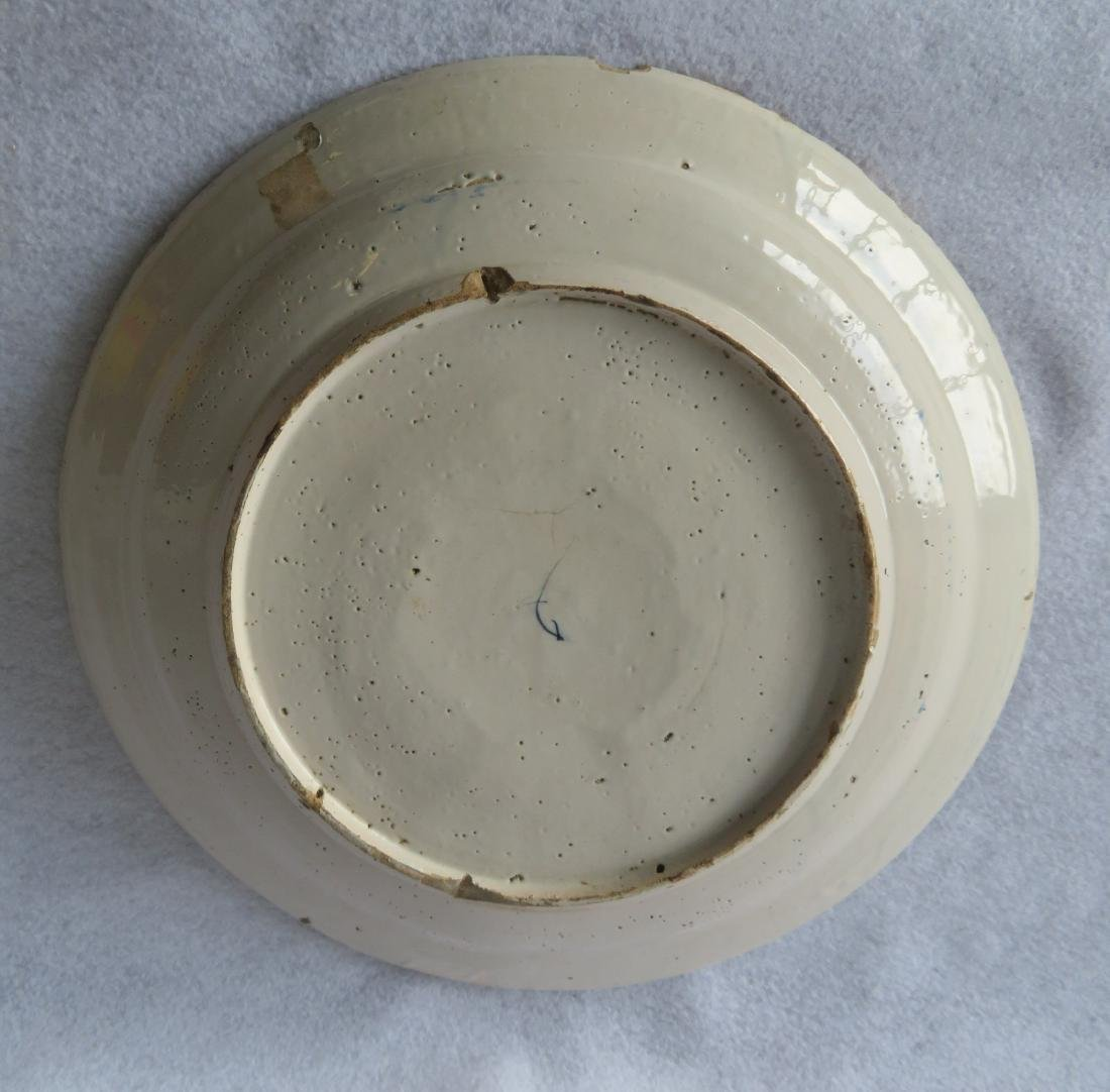 Tin glazed charger, probably Delft,  decorated in blue - 5
