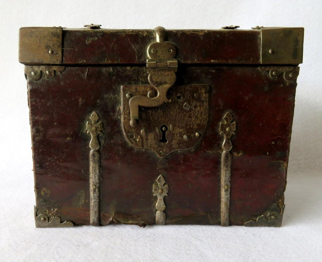 An early leather covered document box with hand forged - 2