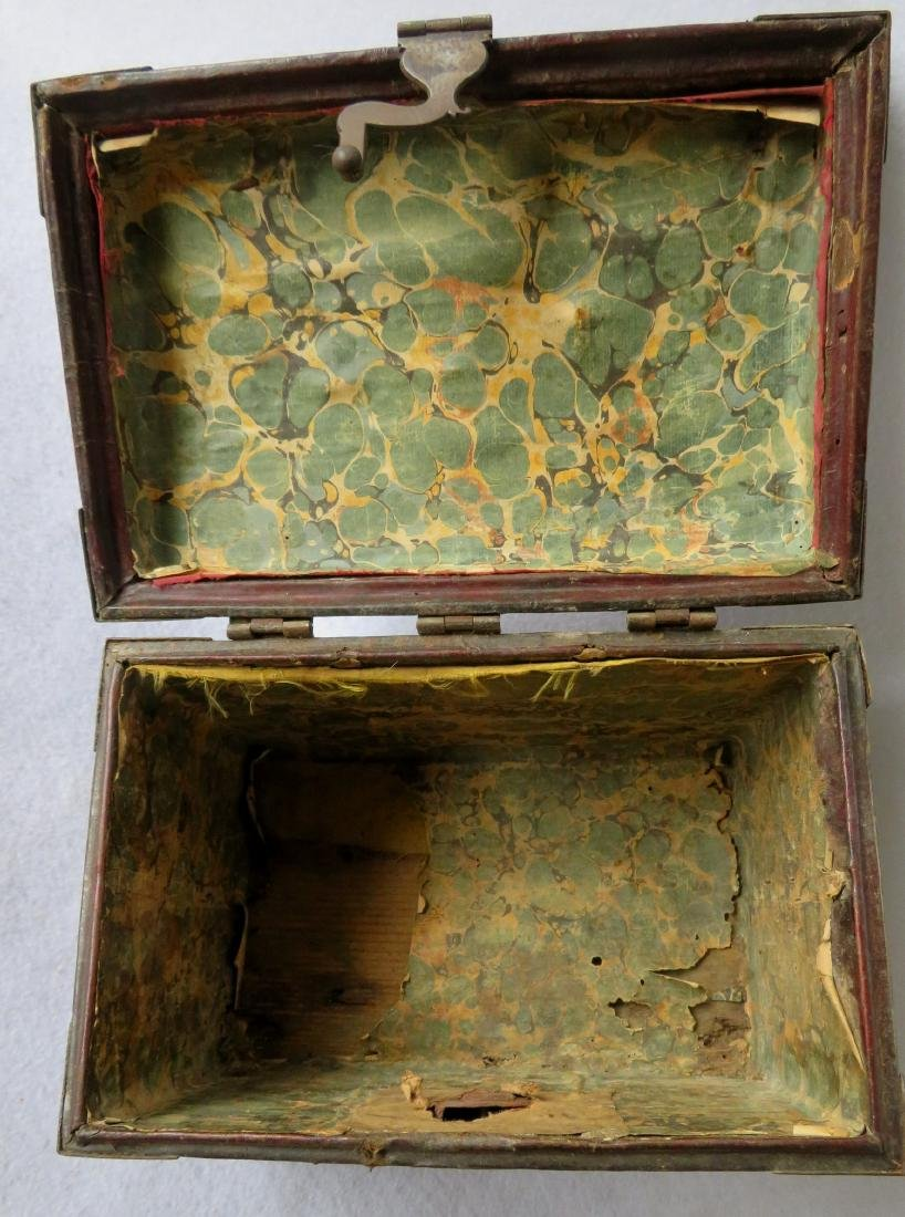 An early leather covered document box with hand forged - 3