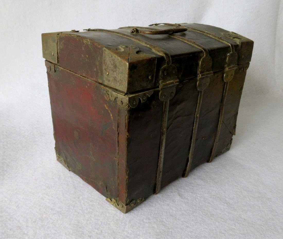 An early leather covered document box with hand forged - 4